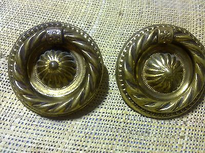 brass ring handles x 2, antique or vintage (lot 88)