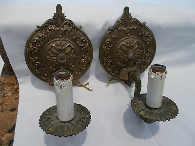 Pr. solid brass Vintage Wall Sconces,wired,original patina