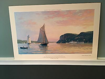 Muller Painting Sail Print Proof Hand Signed Numbered Evening on The Hudson 1862