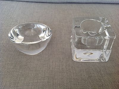 "2 Swedish "" Orrefors "" Crystal Glass tealight holder and candle holder"