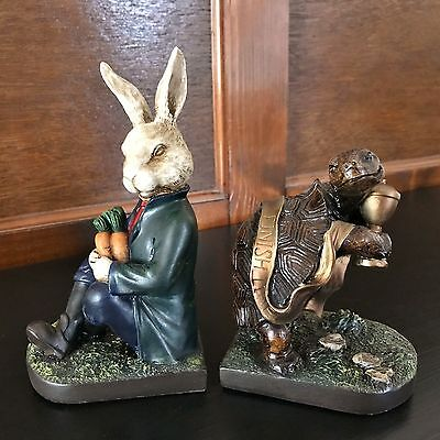 Tortoise & Hare Bookends Shelf Tidies Aesops Fables Figurines Ornament Gift