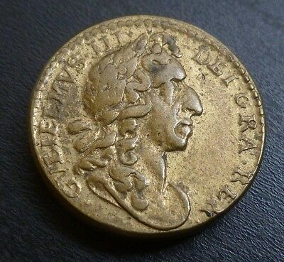 William III Gold Guinea Brass Coin Weight With Nice Portrait