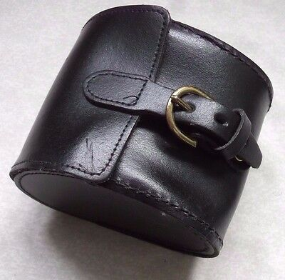 VINTAGE BLACK CASE POUCH WALLET FOR GADGET CAMERA TECH REAL LEATHER 1990s