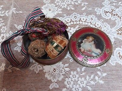 Vintage Georgian Tin And Tassel Heads Collection Contents Collector Antique