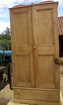 old antique pine wardrobe with draw.