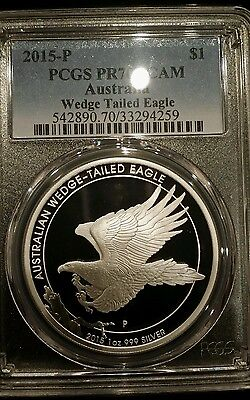 2015 Australia 1 oz Silver Wedge Tailed Eagle PCGS PR70DCAM Spottless !!