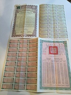 1938 Chinese Bond $10 face amount all coupons attached