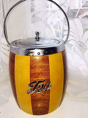 """Vintage 50's """"tea Caddy"""" Wooden Barrel Shape / Chrome Fittings / Lined Ex Cond🌸"""