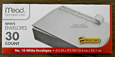 Mead bx of 30  #10 peel & seal white envelopes 4 1/8 x 9 1/2