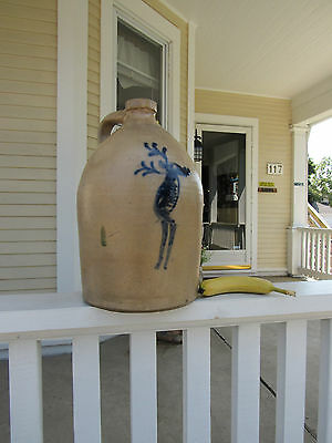 Standing Incised Moose Cobalt decorated Stoneware Jug Vermont C-1865
