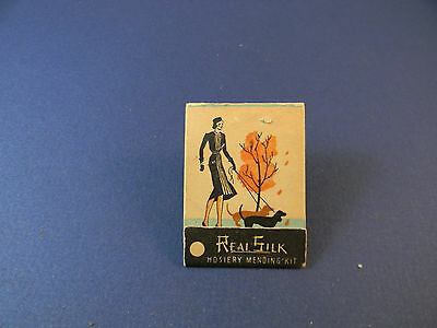 Vintage womens Real Silk Hosiery mending kit, advertising