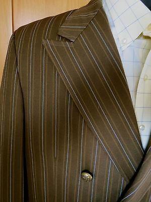 Vtg 1970s Brown Polyester Suit Jacket Mens Disco Double Breasted  Blazer  42-44