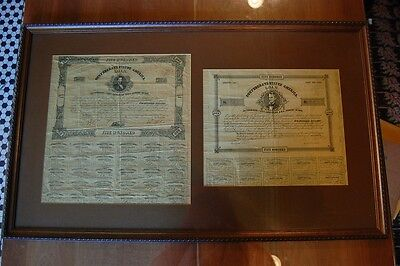 1862 Civil War Confederate States of America Framed $500 Bond #24 and #1027