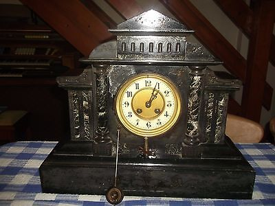 Antique Marble / Slate Mantle Clock With Key - Restoration Project