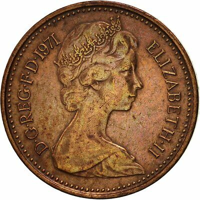 [#419121] Great Britain, Elizabeth II, 1/2 New Penny, 1971, EF(40-45), Bronze