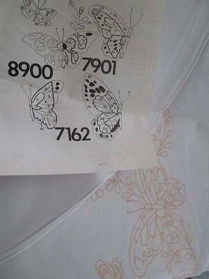 Tri-Chem Butterfly White Tablecloth 66 Inches Round-To Paint/Embroider #8900