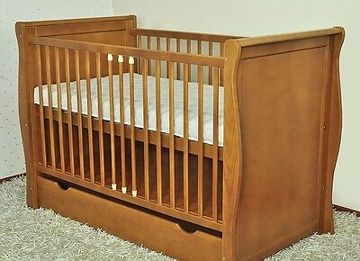 New Light Brown Baby Cot Bed/baby Cot With Drawer/junior Bed/foam Free Matress
