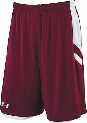 New UNDER ARMOUR Undeniable Reversible Basketball Shorts men XL Maroon White