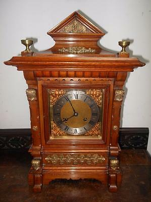 good walnut and brass  ting tang bracket clock by rsm germany c1900s