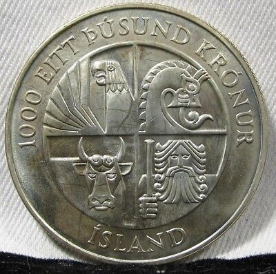 1974 Iceland GEM PROOF 100 Kronur .925 Silver Coin AD258