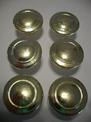 "Six VINTAGE 1-1/4"" BRIGHT BRASS KNOBS Drawer Cabinet Door Handles Tiwan"