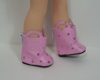 "Debs PINK Star Boots Doll Shoes For 14/"" American Girl Wellie Wisher Wishers"
