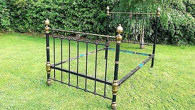 Victorian Antique Double  Heavy Brass & Iron Bed with rails