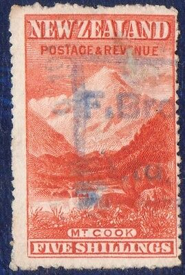 NEW ZEALAND 5/- Mount Cook  Used Classic Stamp
