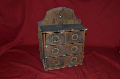 Antique Primitive 19th Century 6 Drawer Apothecary / Spice Cabinet *