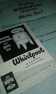 Vintage whirlpool  Wringer Washer Manual ~ model 91135 91235 original envelope!