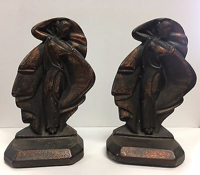 Antique Miss Modern Bookends Cast Iron Lady Dancing Bust Nude Art Deco Book Ends