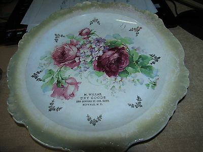 Antique Advertising Frncaise Hand Painted Plate  M. Willax Dry Goods Buffalo Ny