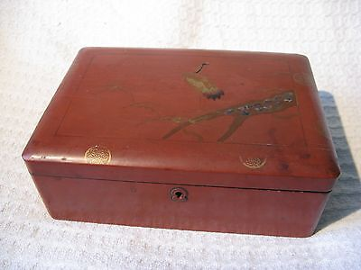 Vintage Oriental Japanese Lacquer Box with Crane & Abalone Shell Inlay