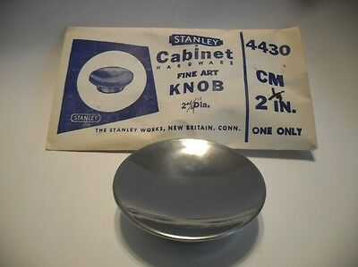 "Vintage NOS CHROME KNOB 2-1/4"" Dia. Drawer Cabinet Door Pull Handle Stanley"
