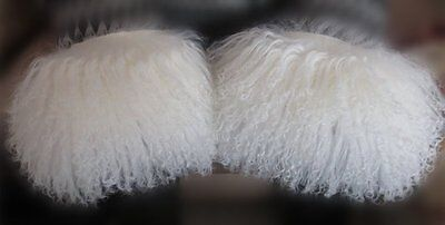 4bd140911a0 REAL WHITE MONGOLIAN Tibetan Lamb Fur Cuffs Warm Fur Sleeves Cuff US ...