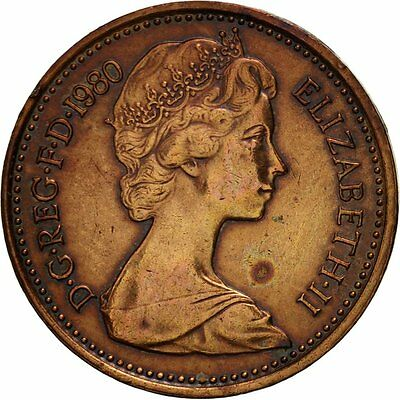 [#419129] Great Britain, Elizabeth II, 1/2 New Penny, 1980, EF(40-45), Bronze