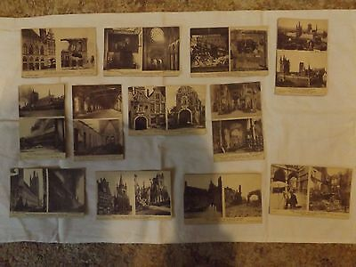 """WW1 Twelve """"Before & After"""" bombardment French postcards."""