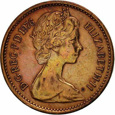 [#419120] Great Britain, Elizabeth II, 1/2 New Penny, 1976, EF(40-45), Bronze