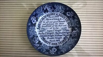 Antique Promotional Flow Blue Plate distributed by W.H. Wright & Sons Ogden Utah