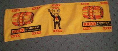 Very old but unused towelling bar runner  XXXX  The Polular Beer  79 cm long