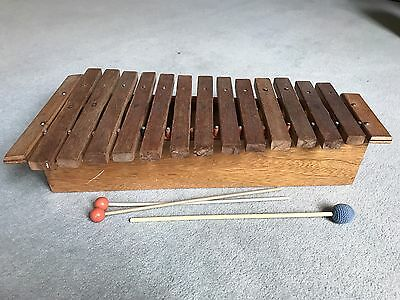 Vintage 70s WOODEN XYLOPHONE musical percussion instrument folk 13 KEYS