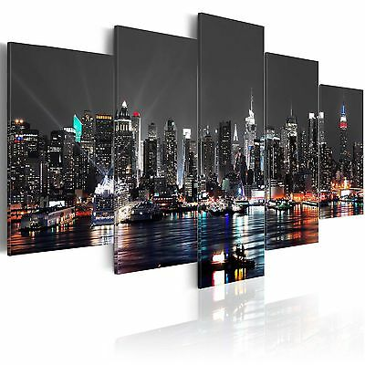 5 Panels NEW YORK NIGHT Canvas Print Pictures Wall Art Canvas Prints Unframed