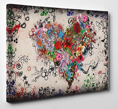 Colorful Floral Love Heart Canvas Print Pictures Wall Art Canvas Prints Unframed