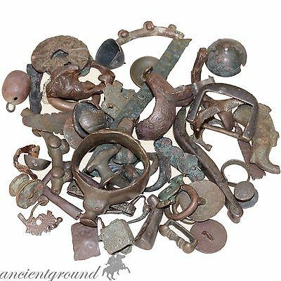 Nice Lot Of Ancient Greek To Medieval Bronze Artifacts , Appliques & Fragments