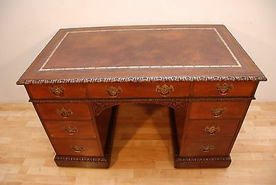 Antique Edwards and Roberts Pedestal desk New Brown Leather