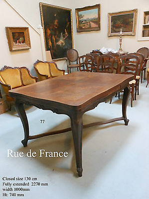 Antique  French Provincial - French Carved Oak Dining Extension Table