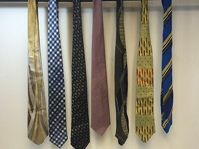 Lot Of 7 Men's Ties - Blue, Yellow, Violet, Green, Gold.