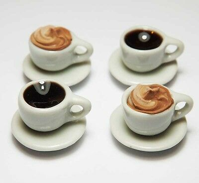 4 Mixed Dollhouse Miniature Cups of Coffee*Doll Mini Food Drink Saucer Plate Cup