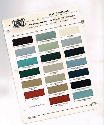 1964 CADILLAC Color Chip Paint Sample Chart Brochure: RM