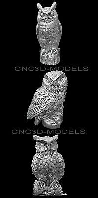 3D Model STL for CNC Router Engraver Carving Artcam Aspire Owl Animal e935